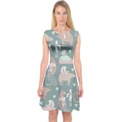 Bear Ruding Unicycle Unique Pop Art All Over Print Capsleeve Midi Dress