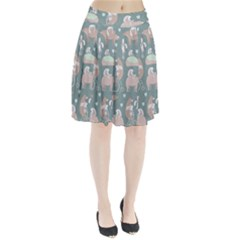 Bear Ruding Unicycle Unique Pop Art All Over Print Pleated Skirt