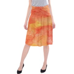 Watercolor Yellow Fall Autumn Real Paint Texture Artists Midi Beach Skirt