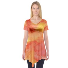 Watercolor Yellow Fall Autumn Real Paint Texture Artists Short Sleeve Tunic