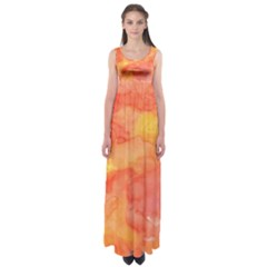 Watercolor Yellow Fall Autumn Real Paint Texture Artists Empire Waist Maxi Dress