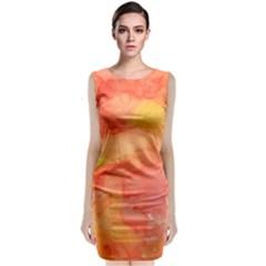 Watercolor Yellow Fall Autumn Real Paint Texture Artists Classic Sleeveless Midi Dress