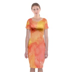 Watercolor Yellow Fall Autumn Real Paint Texture Artists Classic Short Sleeve Midi Dress