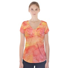 Watercolor Yellow Fall Autumn Real Paint Texture Artists Short Sleeve Front Detail Top