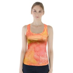 Watercolor Yellow Fall Autumn Real Paint Texture Artists Racer Back Sports Top