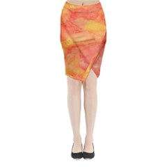 Watercolor Yellow Fall Autumn Real Paint Texture Artists Midi Wrap Pencil Skirt