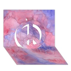 Galaxy Cotton Candy Pink And Blue Watercolor  Peace Sign 3d Greeting Card (7x5)