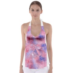 Galaxy Cotton Candy Pink And Blue Watercolor  Babydoll Tankini Top