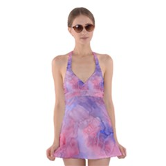 Galaxy Cotton Candy Pink And Blue Watercolor  Halter Swimsuit Dress