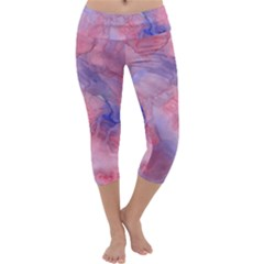 Galaxy Cotton Candy Pink And Blue Watercolor  Capri Yoga Leggings