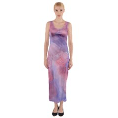 Galaxy Cotton Candy Pink And Blue Watercolor  Fitted Maxi Dress