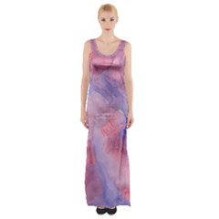 Galaxy Cotton Candy Pink And Blue Watercolor  Maxi Thigh Split Dress
