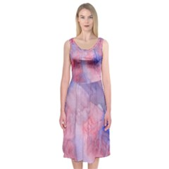 Galaxy Cotton Candy Pink And Blue Watercolor  Midi Sleeveless Dress