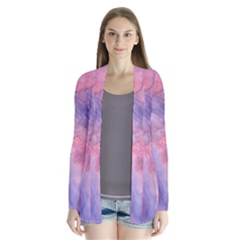 Galaxy Cotton Candy Pink And Blue Watercolor  Drape Collar Cardigan