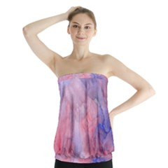Galaxy Cotton Candy Pink And Blue Watercolor  Strapless Top