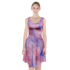 Galaxy Cotton Candy Pink And Blue Watercolor  Racerback Midi Dress