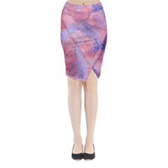 Galaxy Cotton Candy Pink And Blue Watercolor  Midi Wrap Pencil Skirt