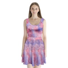 Galaxy Cotton Candy Pink And Blue Watercolor  Split Back Mini Dress
