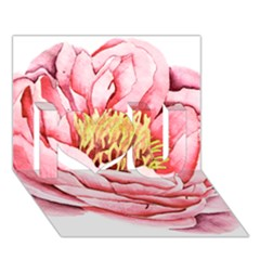 Large Flower Floral Pink Girly Graphic I Love You 3d Greeting Card (7x5)