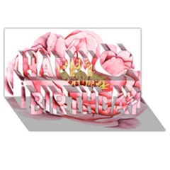 Large Flower Floral Pink Girly Graphic Happy Birthday 3D Greeting Card (8x4)