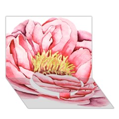 Large Flower Floral Pink Girly Graphic Circle Bottom 3d Greeting Card (7x5)