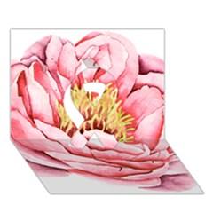 Large Flower Floral Pink Girly Graphic Ribbon 3d Greeting Card (7x5)