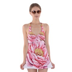 Large Flower Floral Pink Girly Graphic Halter Swimsuit Dress