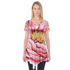Large Flower Floral Pink Girly Graphic Short Sleeve Tunic