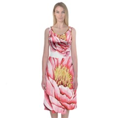 Large Flower Floral Pink Girly Graphic Midi Sleeveless Dress