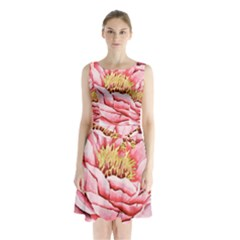 Large Flower Floral Pink Girly Graphic Sleeveless Chiffon Waist Tie Dress