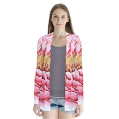 Large Flower Floral Pink Girly Graphic Drape Collar Cardigan