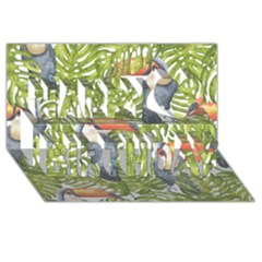 Tropical Print Leaves Birds Toucans Toucan Large Print Happy Birthday 3d Greeting Card (8x4)