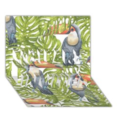 Tropical Print Leaves Birds Toucans Toucan Large Print YOU ARE INVITED 3D Greeting Card (7x5)