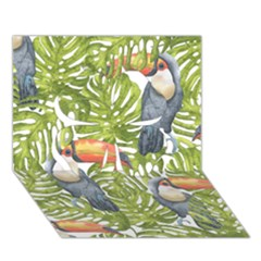 Tropical Print Leaves Birds Toucans Toucan Large Print Clover 3D Greeting Card (7x5)