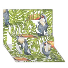 Tropical Print Leaves Birds Toucans Toucan Large Print Miss You 3d Greeting Card (7x5)
