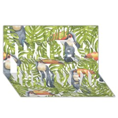 Tropical Print Leaves Birds Toucans Toucan Large Print Happy New Year 3D Greeting Card (8x4)