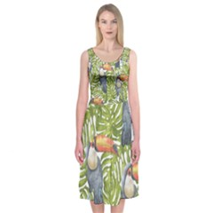 Tropical Print Leaves Birds Toucans Toucan Large Print Midi Sleeveless Dress