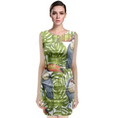 Tropical Print Leaves Birds Toucans Toucan Large Print Classic Sleeveless Midi Dress