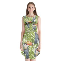 Tropical Print Leaves Birds Toucans Toucan Large Print Sleeveless Chiffon Dress