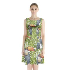Tropical Print Leaves Birds Toucans Toucan Large Print Sleeveless Chiffon Waist Tie Dress