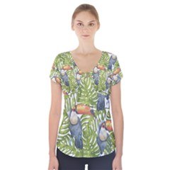 Tropical Print Leaves Birds Toucans Toucan Large Print Short Sleeve Front Detail Top