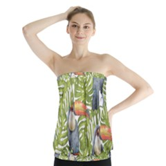 Tropical Print Leaves Birds Toucans Toucan Large Print Strapless Top