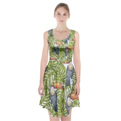 Tropical Print Leaves Birds Toucans Toucan Large Print Racerback Midi Dress