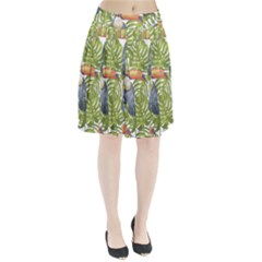 Tropical Print Leaves Birds Toucans Toucan Large Print Pleated Skirt