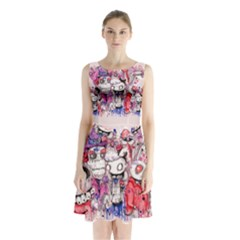 We re All Mad Here Sleeveless Chiffon Waist Tie Dress