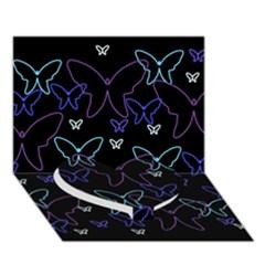 Blue neon butterflies Heart Bottom 3D Greeting Card (7x5)