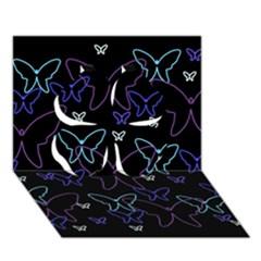 Blue neon butterflies Clover 3D Greeting Card (7x5)