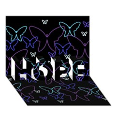 Blue neon butterflies HOPE 3D Greeting Card (7x5)
