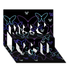Blue neon butterflies Miss You 3D Greeting Card (7x5)