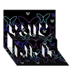 Blue neon butterflies You Did It 3D Greeting Card (7x5)